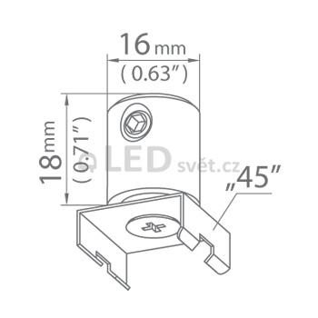 Závěska DP-45-MOC slouží k uchycení a zavěčení profilu a svítidla na lanko nebo prut.