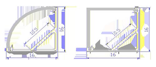 LED alu profil Corner 16