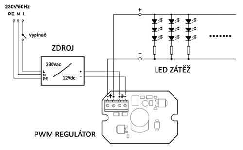 Regulátor jasu JO-100D schéma zapojení