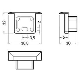 Koncovka SMART-IN10 stříbrná s otvorem pro kabel, pár