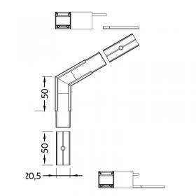 Spojka rohová LINEA20 - 120° hliník elox
