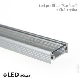 Odřezek min. 30cm - LED profil SURFACE10 + difuzor B čirý