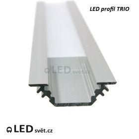Rohový LED profil 45° D TRIO 90/45°  čelní pohled