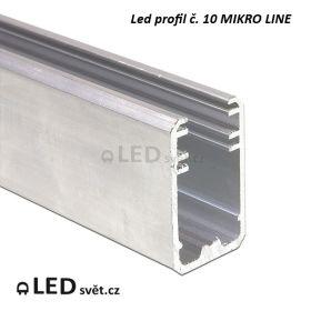 Led profil č. 10 MIKRO LINE - pro skleněnou polici 8 mm