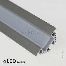 Rohový LED profil PAC-ALU s krytkou HS12 mléčná