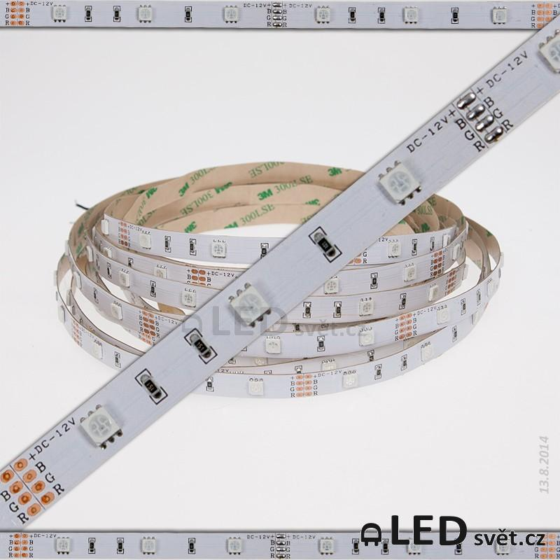 RGB LED pásek 5050 30 LED/1m, IP20 | 10cm