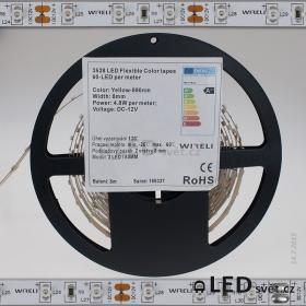 Color LED pásek 3528 60ks 12V 4.8W/m, 590nm - žlutá
