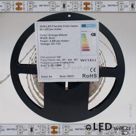 Color LED pásek 3528 60ks 12V 4.8W/m, 604nm - oranžová