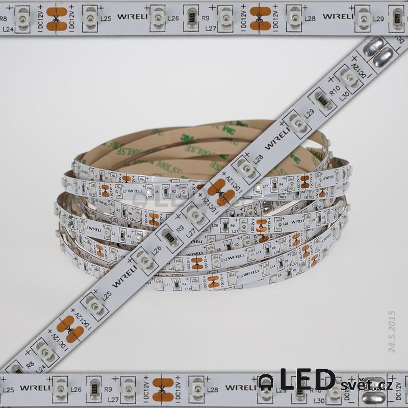 Color LED pásek 3528 60ks 12V 4.8W/m, 470nm - modrá