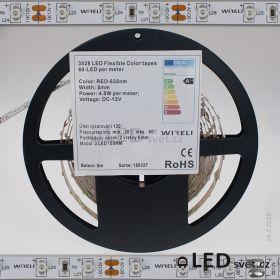 Color LED pásek 3528 60ks 12V 4.8W/m, 625nm - červená