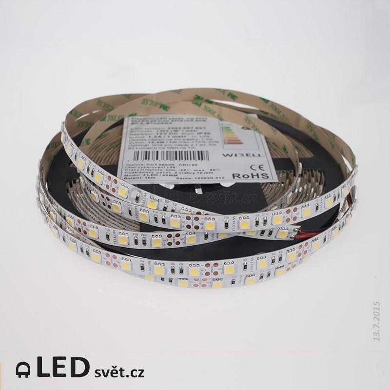 Led pásek Epistar SHB 5050 60ks 14.4W 1200lm 12V CW - studená b. CRI80