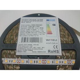 Led pásek WIRELI 5050 60ks 14.4W 1180lm 12V WW - teplá b.