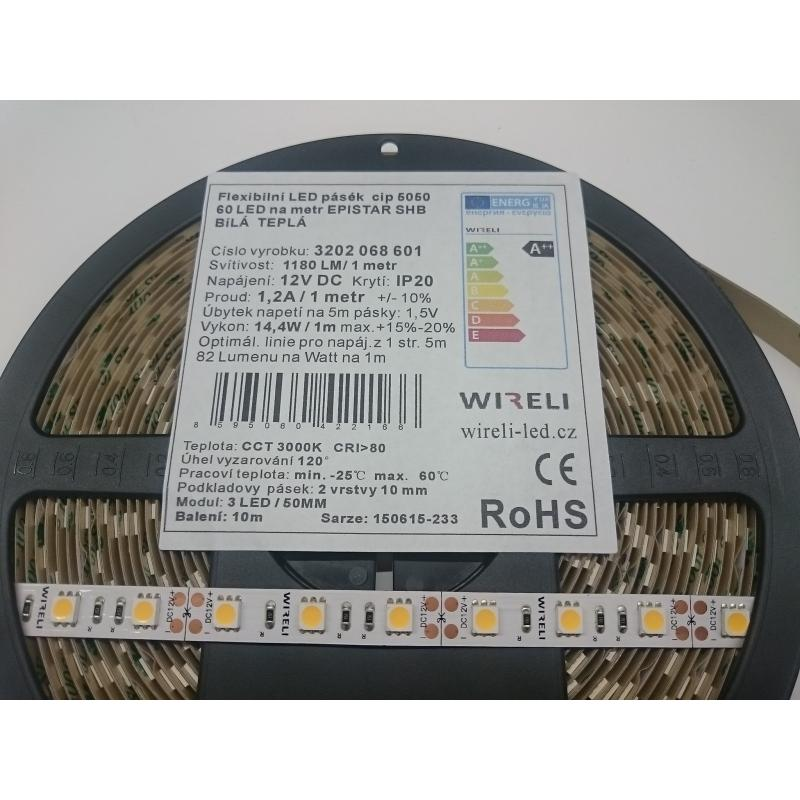 Led pásek Epistar SHB 5050 60ks 14.4W 1180lm 12V WW - teplá b. | 5cm