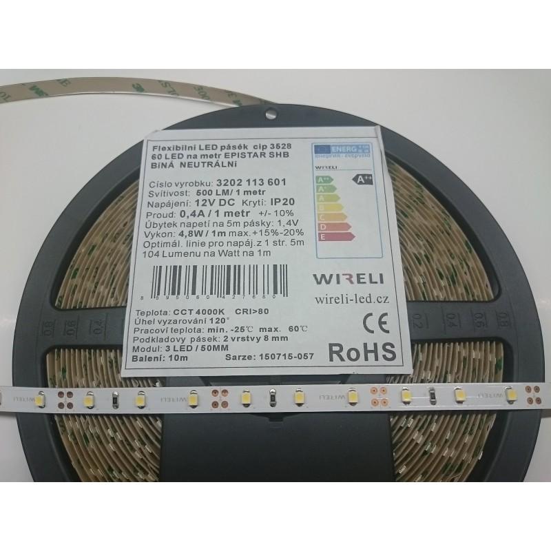 LED pásek SHB 3528 12V 4.8W/m, 500 lm/m NW - neutrální | 5cm