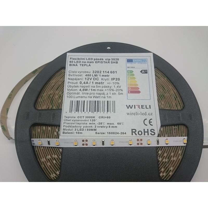 LED pásek SHB 3528 12V 4.8W/m, 480 lm/m WW - teplá | 5cm
