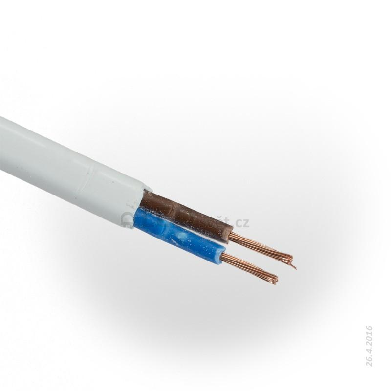 Kabel 2*0,5mm plochý bílý s pláštěm