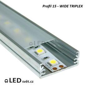 Hliníkový profil 15 - WIDE TRIPLEX (bez krycí lišty)