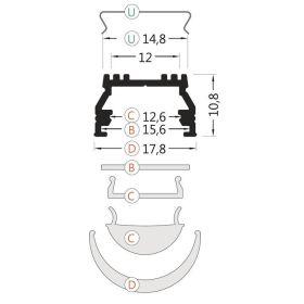 Profil WIRELI UNI12 BCD/U lak bílý 2000mm (metráž)