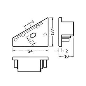 Koncovka WIRELI CORNER14-o stříbrná s otvorem pro kabel, pár