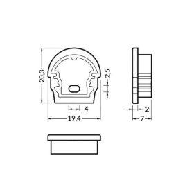 Koncovka UNI12-D-o šedá s otvorem na kabel, pár