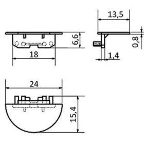 Koncovka WIRELI12 GROOVE stříbrná půlkulatá