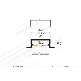 Profil WIRELI BEGTIN J/S hliník surový 2m (metráž)