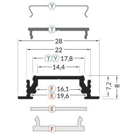 Profil GROOVE LINE 14 bílý komaxit 2000mm