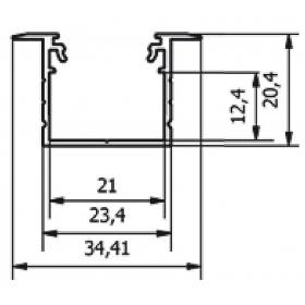 Profil WIRELI LINEA-IN 20  EF/TY černá, 2m (metráž)