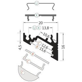 Profil WIRELI60 CORNER BC/UX bílý komaxit 2m