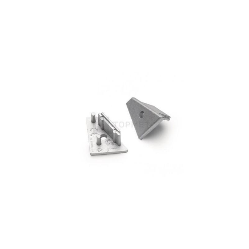 Koncovka WIRELI60 CORNER-o stříbrná s otvorem pro kabel, pár