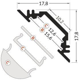 Rohový LED profil 45° D TRIO 90/45°  s krytkou