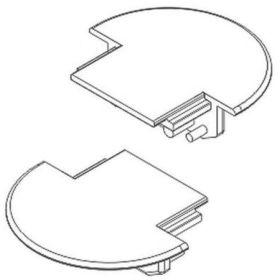 Koncovka W12 GROOVE bílá půlkulatá (pár)