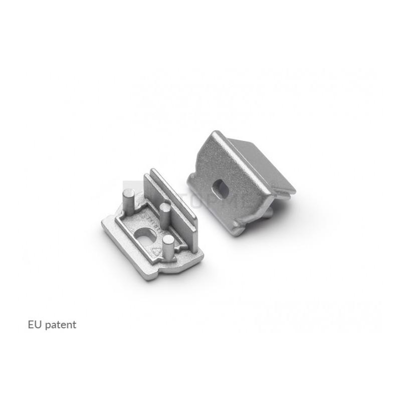 Koncovka UNI12-o stříbrná s otvorem na kabel, pár