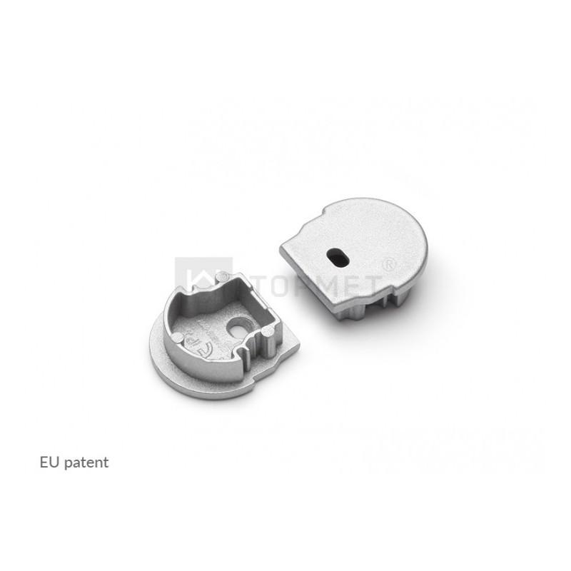 Koncovka UNI12-D-o stříbrná s otvorem na kabel, pár