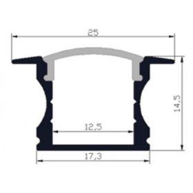 LED profil HIGH WIDE12 IN al. anod. l 2m