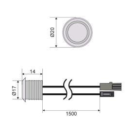 Spínač dotykový se stmívačem k zafrézování s modrým podsvětlením - 12VDC max. 5A