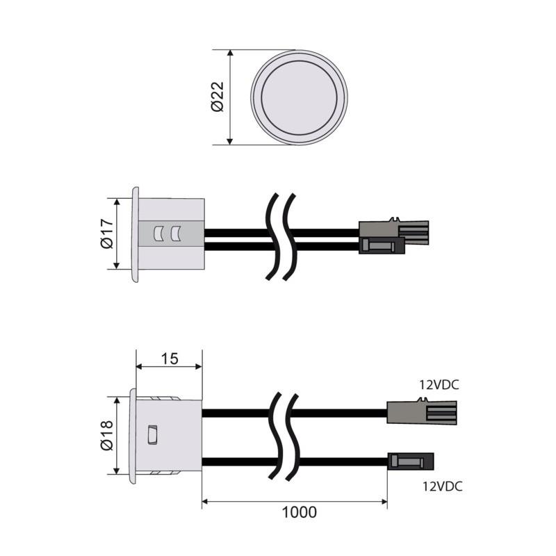 Spínač dotykový se stmívačem k zafrézování šedý- 12-24VDC max. 4A