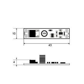Vypínač a stmívač do LED profilu kapacitní LUX E - 12-24VDC max. 8A