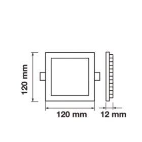 LED panel čtverec VT- 607 SQ 4864 6W DW (neutrální bílá)