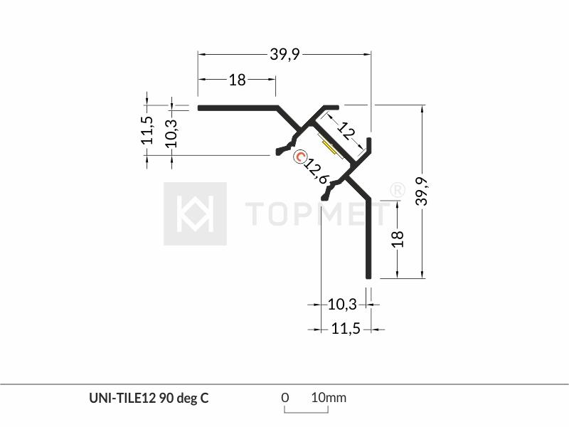 LED profile UNI-TILE12 C 90